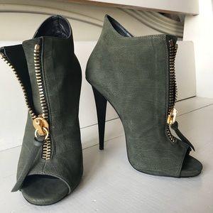 Green suede zip up ankle booties